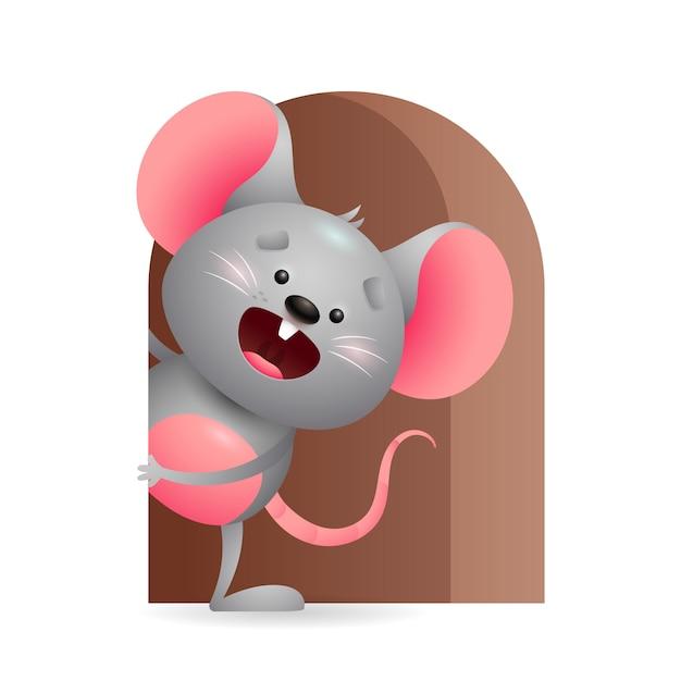 Vrolijke grijze muis die uit gat gluren Gratis Vector
