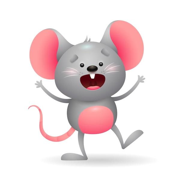 Vrolijke grijze muis in opwinding Gratis Vector