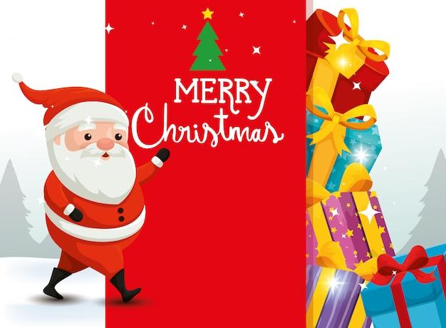 Vrolijke kerstkaart met de kerstman en decoratie Premium Vector
