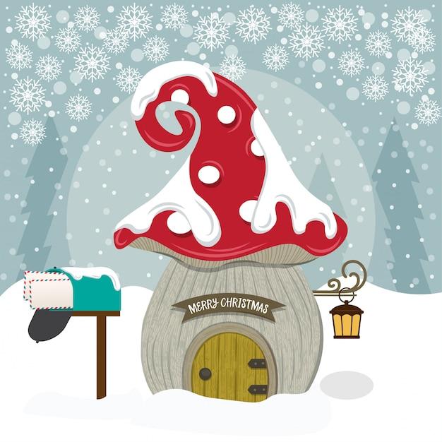 Vrolijke kerstkaart met de leuke illustratie van het kabouterhuis Premium Vector
