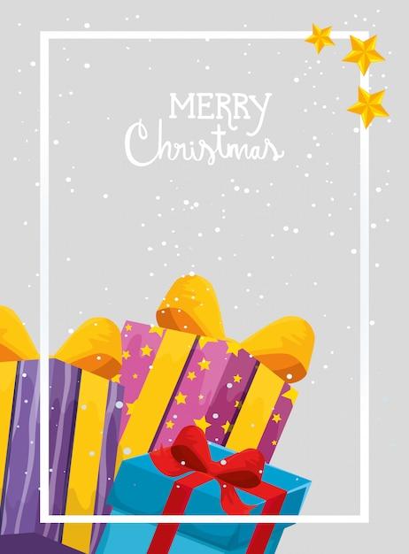 Vrolijke kerstkaart met geschenkdozen Gratis Vector