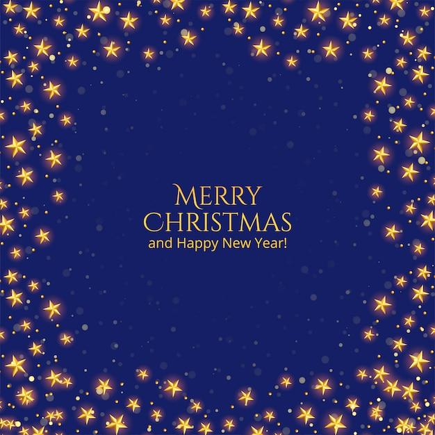 Vrolijke kerstkaart met gouden sterren op blauw Gratis Vector
