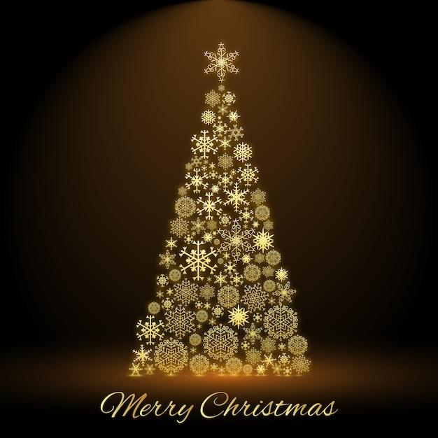 Vrolijke kerstkaart met versierde dennenboom in het midden Gratis Vector