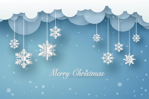 Vrolijke kerstkaart met witte origamisneeuwvlok of ijskristal op blauwe achtergrond Premium Vector