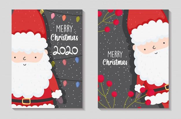 Vrolijke kerstkaarten met de kerstman Premium Vector