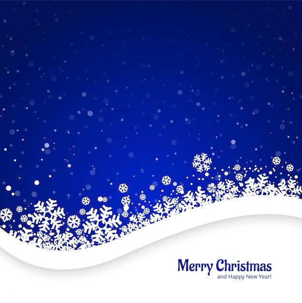 Vrolijke kerstmis blauwe achtergrond met sneeuwvlokkenontwerp Gratis Vector