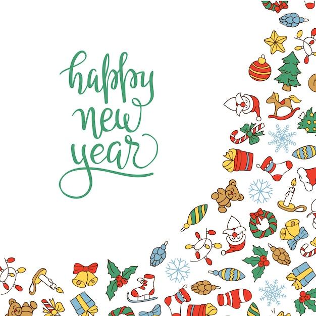 Vrolijke kerstmis en gelukkig nieuwjaar achtergrond met gekleurde pictogrammen. Gratis Vector