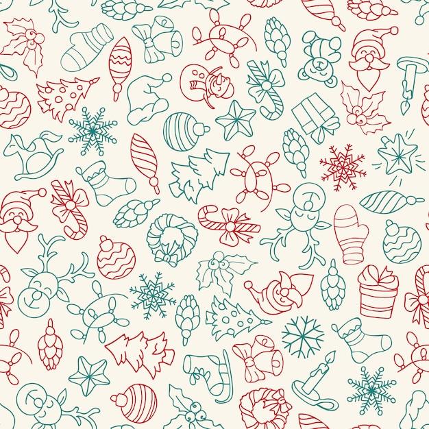 Vrolijke kerstmis en gelukkig nieuwjaar naadloze patroon met pictogrammen. Gratis Vector