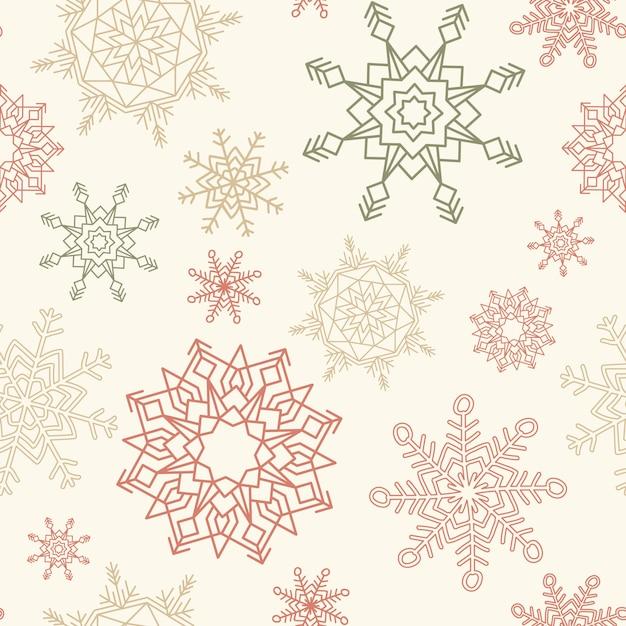 Vrolijke kerstmis en gelukkig nieuwjaar naadloze patroon met sneeuwvlokken. Gratis Vector