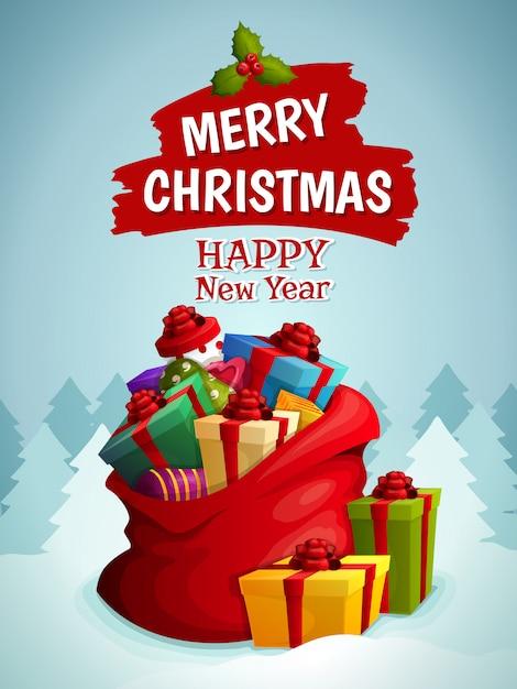 Vrolijke kerstmis en gelukkig nieuwjaar wenskaart met zak vol geschenken illustratie Gratis Vector