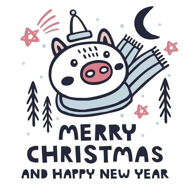 Vrolijke kerstmis en gelukkige nieuwjaarachtergrond met varken Premium Vector