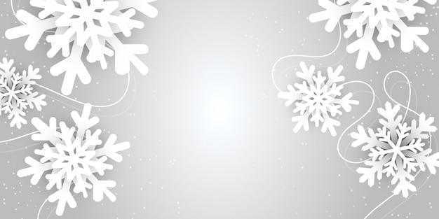 Vrolijke kerstmis en nieuwjaar abstracte vectorillustratie met het landschap van de de wintersneeuwvlok Premium Vector