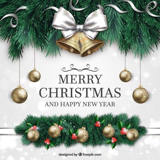 Vrolijke kerstmis en nieuwjaar achtergrond met ornamenten in realistische stijl Gratis Vector