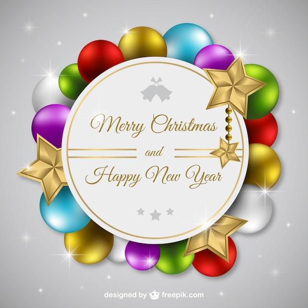 Citaten Kerstmis Nieuwjaar : Vrolijke kerstmis en nieuwjaar label met gekleurde ballen
