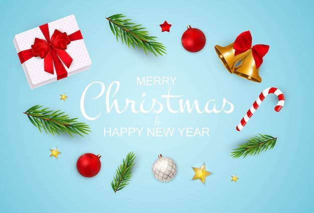 Vrolijke kerstmis en nieuwjaarachtergrond. Premium Vector