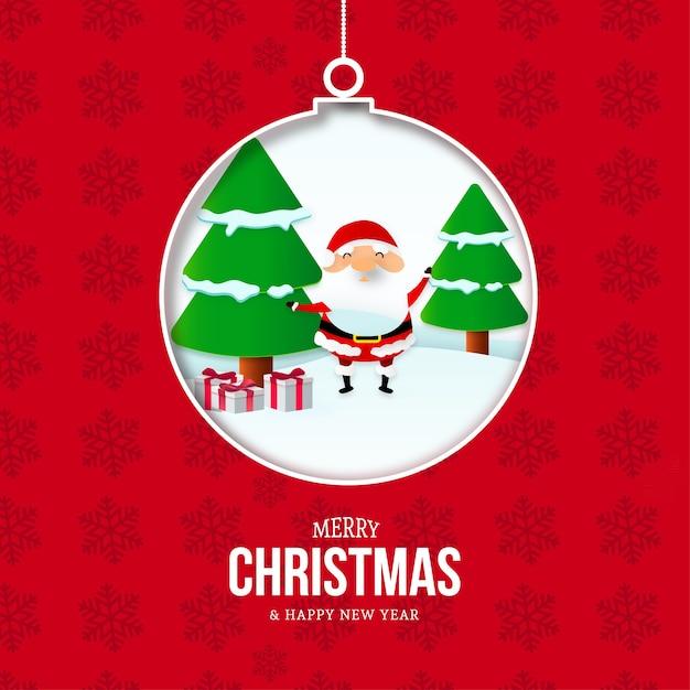 Vrolijke kerstmis en nieuwjaarskaart met bal en kerstlandschap Gratis Vector