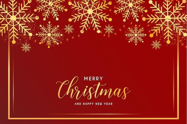 Vrolijke kerstmis en nieuwjaarskaart met sneeuwvlokken en gouden frame sjabloon Gratis Vector