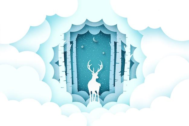 Vrolijke kerstmis en winter seizoen achtergrond. hert in dennenbos met cloud. Premium Vector