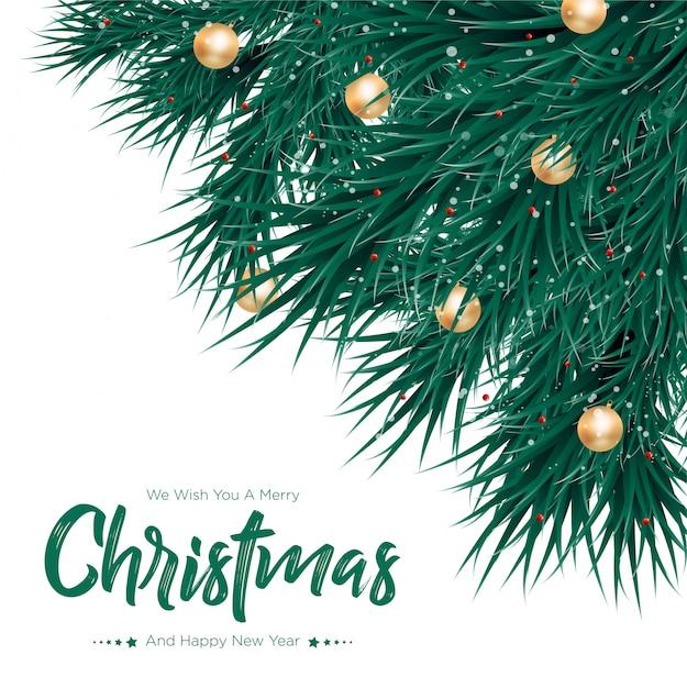 Vrolijke kerstmis met gouden ballenachtergrond Premium Vector