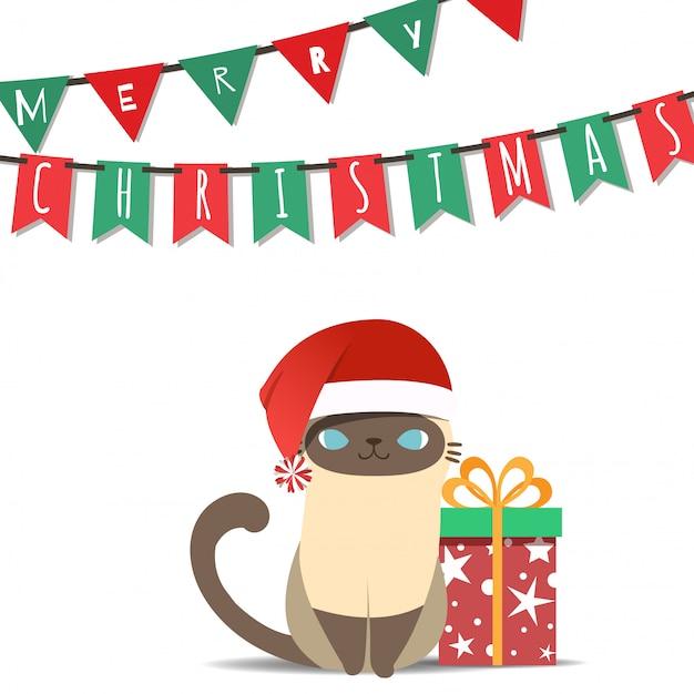 Vrolijke kerstmis met het kostuumkat van de kerstman. Premium Vector