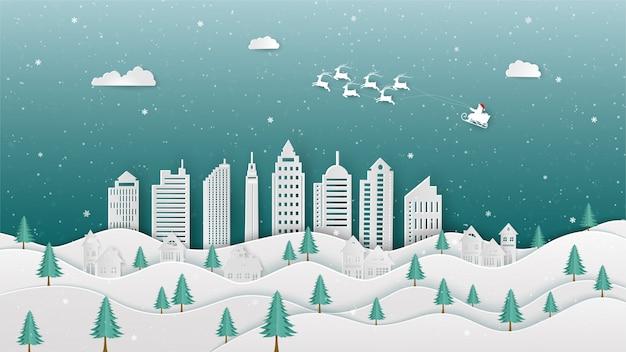 Vrolijke kerstmis met santa claus die naar stad op de illustratie van de de winternacht komen Premium Vector
