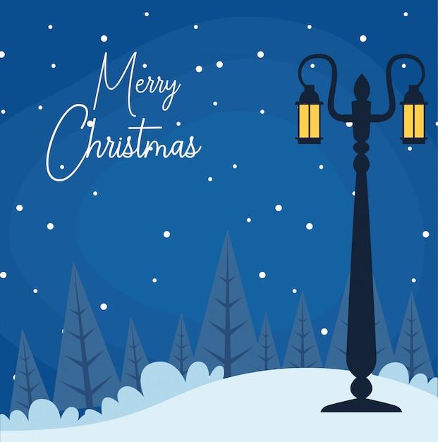Vrolijke kerstmis met winternacht scenary met straatlantaarn Premium Vector