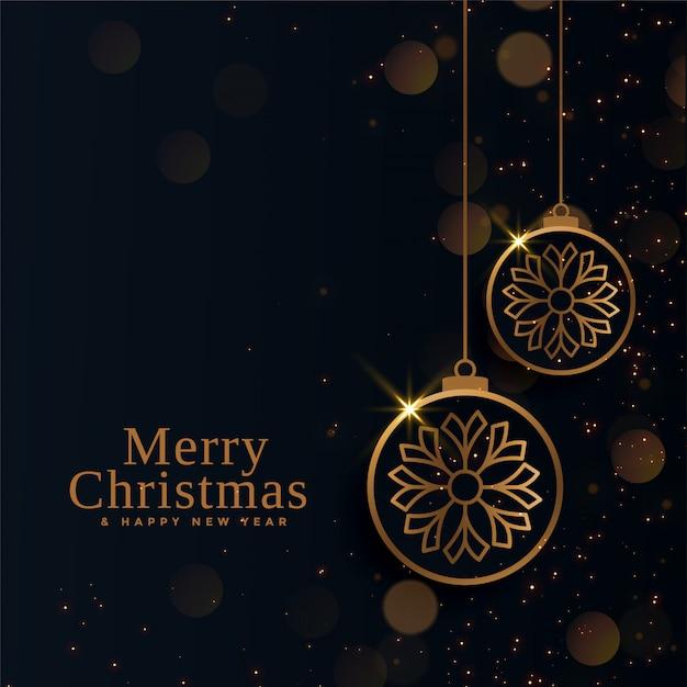 Vrolijke kerstmis mooie gouden ballen Gratis Vector