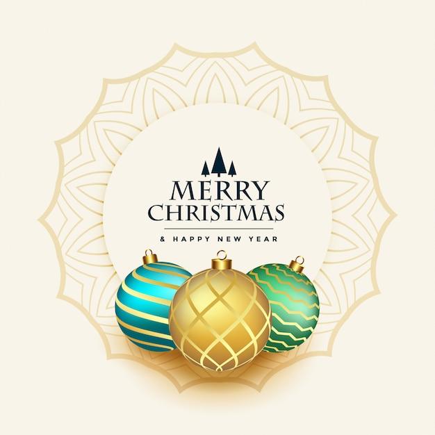 Vrolijke kerstmis mooie groet met ballendecoratie Gratis Vector