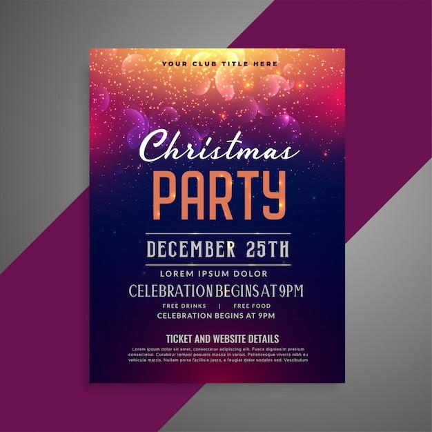 Vrolijke kerstmis sparkles partij poster flyer ontwerpsjabloon Gratis Vector