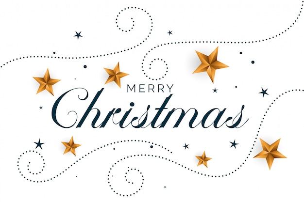Vrolijke kerstmis witte achtergrond met gouden harten Gratis Vector