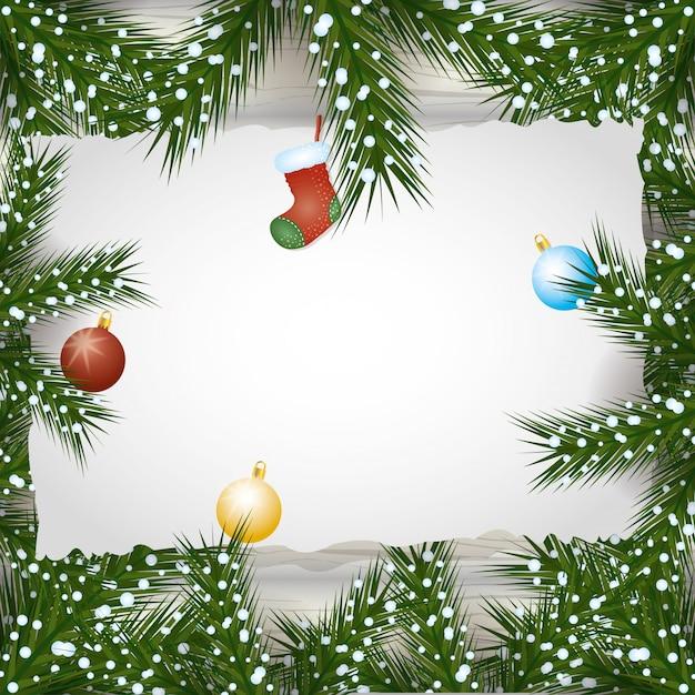 Vrolijke kerstmisachtergrond met ballen en bladerendecoratie Gratis Vector
