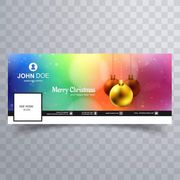 Vrolijke kerstmisbal met het ontwerp van het facebookbannermalplaatje Premium Vector