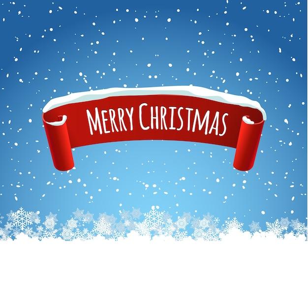 Vrolijke kerstmisillustratie als achtergrond met rood realistisch lintetiket en sneeuw. illustratie winter tag voor vakantie decoratie. Premium Vector