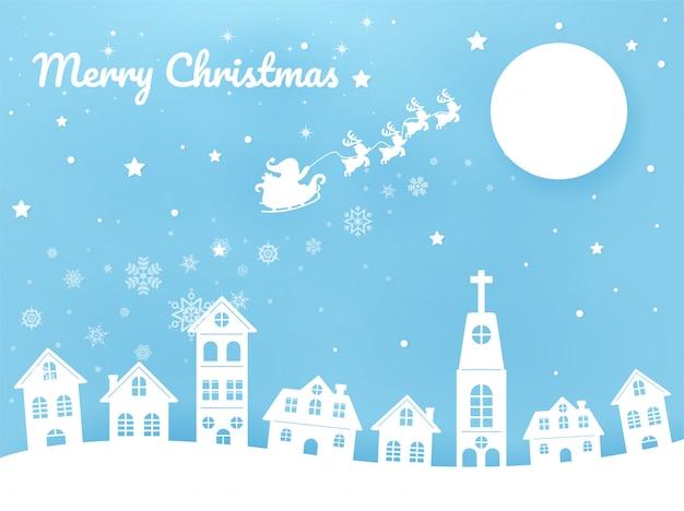 Vrolijke kerstmissanta berijdt een riksja in de hemel in de stad Premium Vector