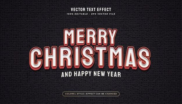 Vrolijke kerstmistekst in witte en rode stijl met reliëfeffect Premium Vector