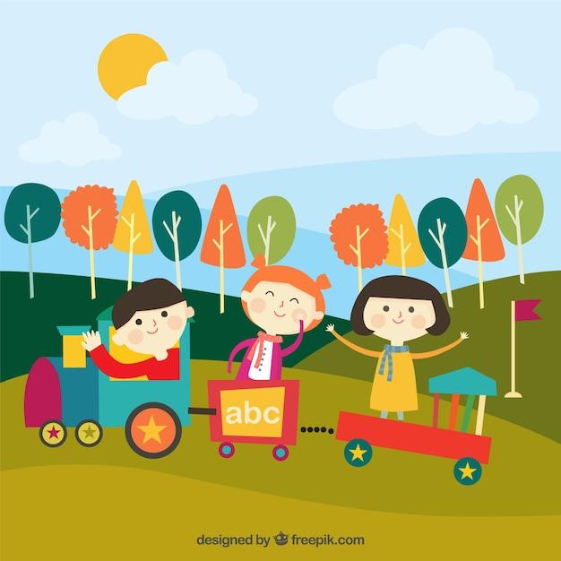 Vrolijke Kinderen Spelen Met Een Trein In Openlucht Gratis Vector