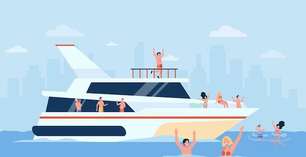 Vrolijke mensen zeilen op luxe boot geïsoleerde vlakke afbeelding. Gratis Vector