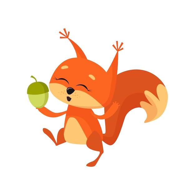 Vrolijke schattige eekhoorn houden moer en dansen Gratis Vector