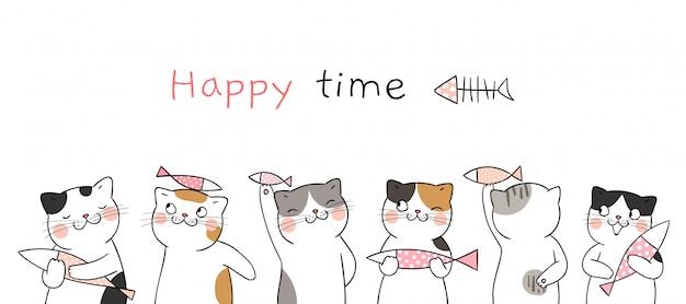 Vrolijke tijd. teken schattige katten met vis. Premium Vector
