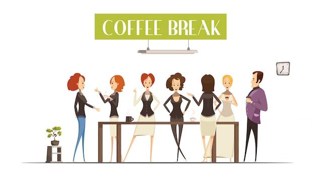 Vrolijke vrouwen en man in de buurt van bruin tafel tijdens communicatie Gratis Vector