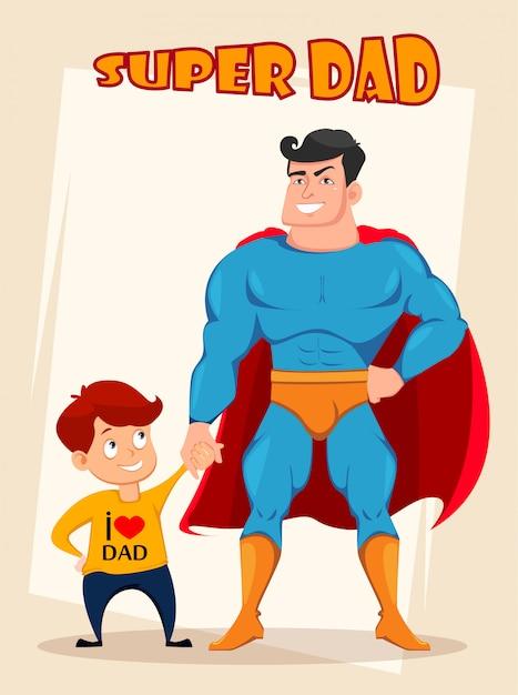 Vrolijke zoon en vader in kostuum van superheld Premium Vector