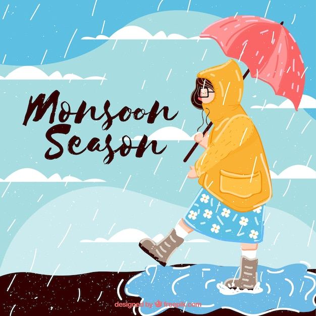 Vrouw achtergrond met regenjas en paraplu Gratis Vector
