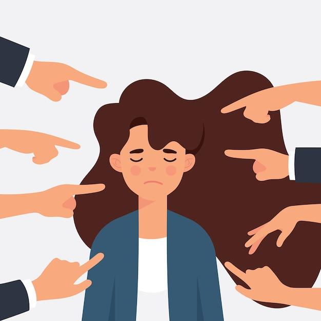 Vrouw als arbeider wordt gepest door haar kantoormaatjes Premium Vector