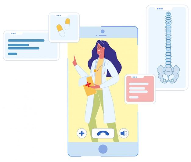 Vrouw arts op mobiele telefoon scherm overleg Premium Vector