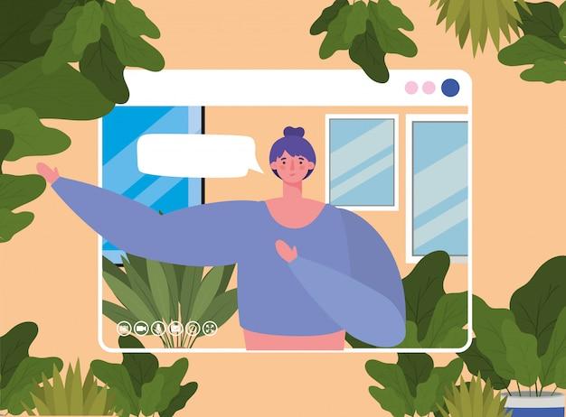 Vrouw avatar met zeepbel op website in videochat ontwerp Premium Vector
