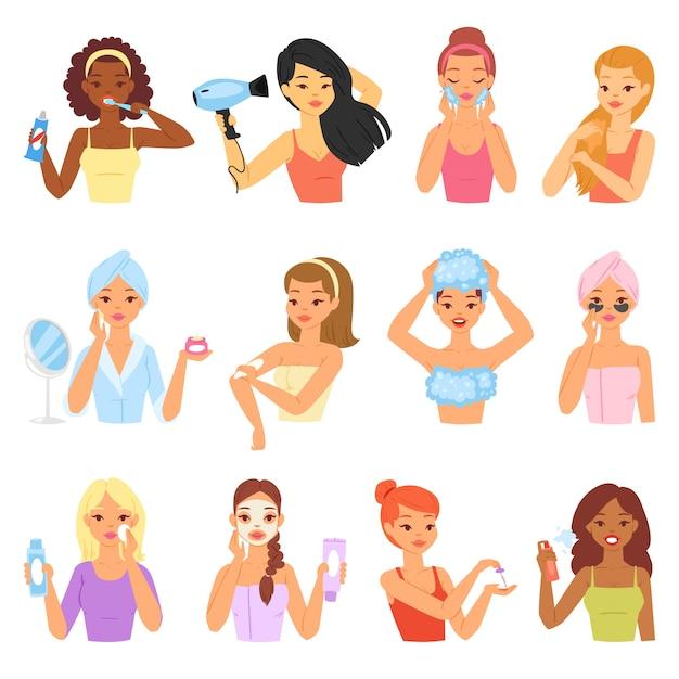 Vrouw badend vector mooi meisje karakter in badjas tanden reinigen en wassen in de badkamer illustratie set vrouwen portret met huidverzorging crème geïsoleerd op witte achtergrond Premium Vector