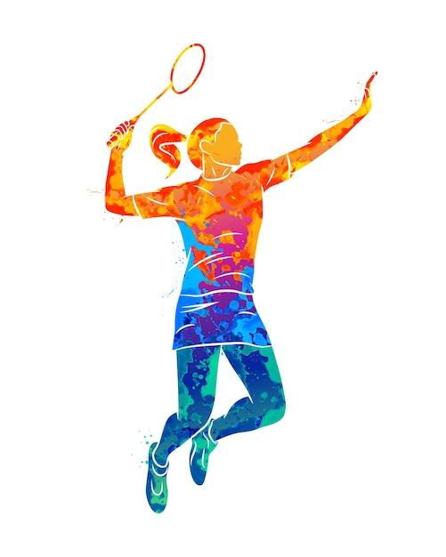 Vrouw badminton-speler in aquarel concept Premium Vector