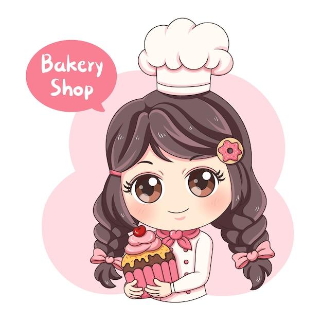 Vrouw baker Premium Vector