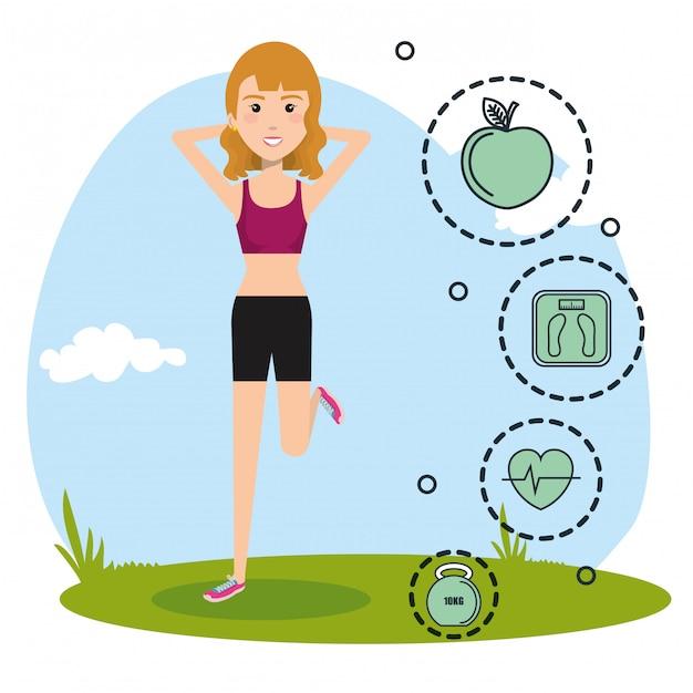 Vrouw beoefenen oefening met sport pictogrammen Gratis Vector