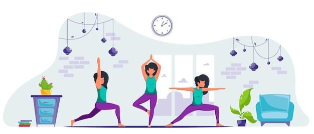 Vrouw beoefenen van yoga thuis. blijf thuis concept. gezondheidsvoordelen van meditatie. in een vlakke stijl. Premium Vector